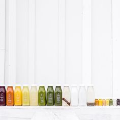 A colorful line-up of cold-pressed juices and hand-made nut milks by Toronto-based Greenhouse Juice Co.