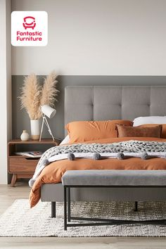 Cosy up on the contemporary Modena Queen Bed. The neutral grey upholstered bedframe and black metal legs match any bedroom style. Neutral Bedroom Decor, Master Bedroom Interior, Bedding Master Bedroom, Gray Bedroom, Home Bedroom, Bedroom Headboards, Grey Bedding, Bedding Sets, Gray Upholstered Headboard