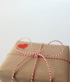 heart stamp + baker's twine #lovebetter use this idea to gift wrap Valentine gifts from MAB..!!!