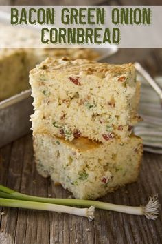 Bacon Green Onion Cornbread recipe from Southern Bite. This is to die for good with bacon and onion bits studded throughout. Perfect with that bowl of chili or by itself.