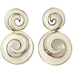 Vintage Enamel Swirl Earrings Dynasty Era Dangle Post Earrings These vintage earrings for pierced ears have huge swirls of creamy white enamel