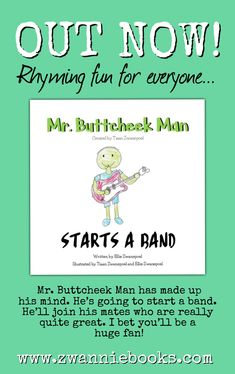 Mr. Buttcheek Man's latest adventure is available now on Amazon in Kindle and Paperback format! Rock out with Mr. Buttcheek Man and he's friends! Large Prints, Childrens Books, Kindle, Adventure, Writing, Rock, Amazon, Friends, Children's Books