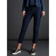 Modern Rarity Sharp Cigarette Trousers, Navy (520 RON) ❤ liked on Polyvore featuring pants, capris, slim cropped pants, navy pants, low rise pants, flannel pants and navy trousers