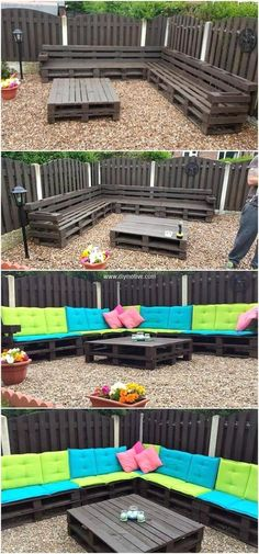 we are bestowing a mind-blowing seating plan for your outdoor. This wood pallets corner sofa is crafted by recycling useless pallets wood. The beautifully painted color on wood pallets looks stunning. The use of light and dark green color cushions are making these pallets plan amazing and fabulous in appearance.