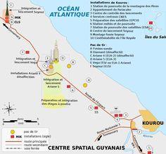 Carte Des Installations Du Centre Spatial Guyanais Csg De Kourou Guyane Francaise C Pline Wikimedia Commons Cc By Kourou Guyane Guyanais Guyane Francaise