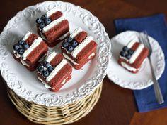 Mini Red Velvet Flag Layer Cakes