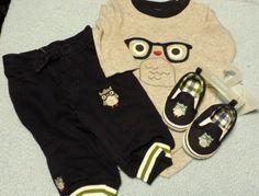 Gymboree Adorable Owl Lot 3PC SET NWT bodysuit pants shoes boys sz 3-6 mos