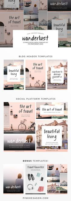 Set of 10 gorgeous templates for branding your social media.  Social Media Templates | Facebook Templates | Pinterest Templates | Branded Templates | Social Media Marketing