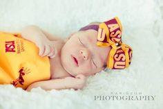 Newborn baby girl sleeping in her ASU headband.  Precious!
