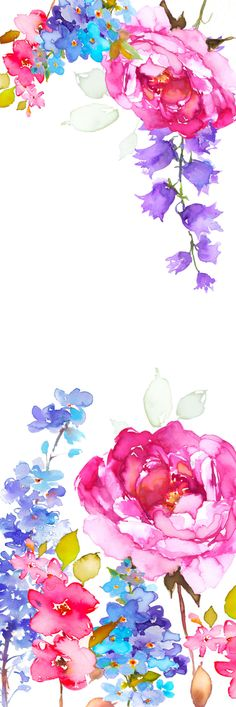 New Flowers Wallpaper Aquarell Ideas Flower Backgrounds, Flower Wallpaper, Wallpaper Backgrounds, Iphone Wallpaper, Cellphone Wallpaper, Watercolor Flowers, Watercolor Paintings, Watercolors, Watercolor Border
