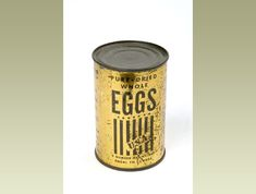 WWII Shopping and Food, England-A tin of dried (powdered) eggs. Fresh eggs were rationed. The Ministry of Food published recipes telling people how to make cakes with dried eggs.