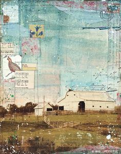 """Sweet Carolina by Mae Chevrette - 11"""" x 14"""" mixed media painting - rustic, rural artwork, typography collage floral blue spring summer http://togointotheworld.blogspot.com/ #mixed_media #collage"""