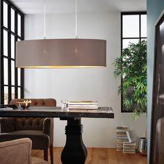 Maserlo / Hängeleuchte / Stahl Nickel-Matt Textil Cappuccino Gold 40490