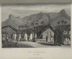 Grabado titulado: Funeral en Annobon (Annobone), 1841 William Allen, A Narrative of the Expedition sent by Her Majestys Government to the River Niger, in 1841 (London, 1848)