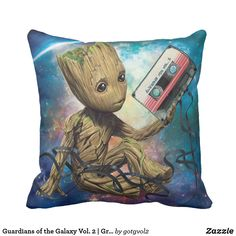 Guardians of the Galaxy Vol. 2 | Groot With Tape. Producto disponible en tienda Zazzle. Decoración para el hogar. Product available in Zazzle store. Home decoration. Regalos, Gifts. #cojín #pillows