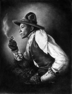 Drawn in charcoal. Performer in Pawnee Bill's Wild West Show; a rival of Buffalo Bill. by greyz