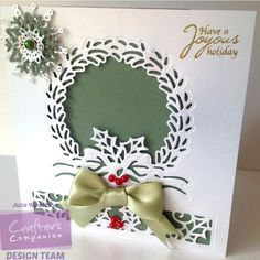 Card made using Crafter's Companion Die'sire Christmas Cut In Create a Card die - Traditional Wreath. Designed by Julie Woolston. #crafterscompanion