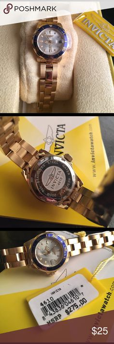 Invicta Woman's Watch 4610 The champagne-colored dial offers dash and dot indexes, three gold-toned hands, and date display at three o'clock. The 18k-gold-plated bezel features dash and Arabic numeral indexes and unidirectional rotation for convenient seconds timing, with blue bezel. The 18k-gold-plated steel band closes with a secure fold-over clasp with safety release, and the case is made of 18k-gold-plated steel as well. Powered by analog quartz movement, this watch also boasts water…