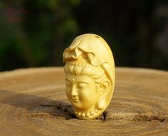 Natural Wood Bead  1pcs Ivory White Boxwood Bead by DaoCaoStudio