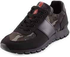 Prada Camo-Print Nylon Running Sneaker, Black/Gray