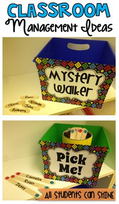 Classroom Management- Mystery Walk- pick a stick with a students name. Watch that child in the hall, if they are on their best behavior and following hallway rules, they get to pick a prize when they get back to the room. Pick me: great way to differentiate who has already been chosen and who has not.
