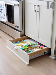 a great use of space we all forget about-the space UNDER your cabinets.  Install drawers where your cabinet kick boards would normally be!