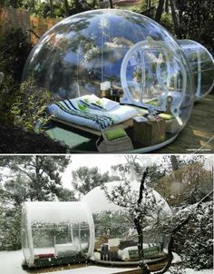 Enjoy uninterrupted views of the French countryside while remaining protected from the elements in these fun transparent dome tents at the Attrap'Rêves Bubble hotels. One translucent hut can be yours for the night in Bouches-du-Rhone or Loir-et-Cher, France, for a camping adventure that's a bit more glamorous than setting up your own cot and nylon tent in the woods.