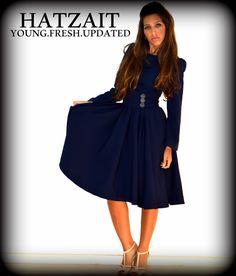 """שמלת פליסה כחולה לאירוע ערב - קיץ 2015 מתוך קולקציית שמלות ערב צנועות     אתר חצאית - מחיר 500 ש""""ח"""