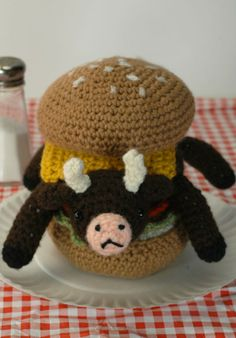 Very Rare Indeed  Ready to ship crocheted cowburger by croshame, $70.00