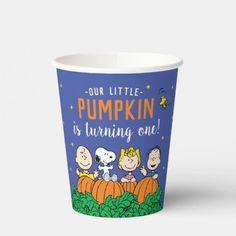 Charlie Brown and Gang Pumpkin 1st Birthday Paper Cups: Charlie Brown and Gang Pumpkin 1st Birthday Paper Cups $1.85 by peanuts Baby In Pumpkin, Little Pumpkin, Paper Napkins, Paper Plates, Pumpkin 1st Birthdays, Birthday Parties, Fall Birthday, Birthday Party Decorations, Birthday Cake