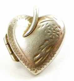 Vintage Sterling Silver Heart Shaped Locket Opens.