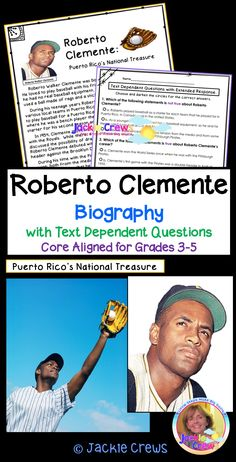 Included is the selection with text-dependent multiple choice, short answer, graphic organizer and extended response questions. #Robertoclemente, #Jackiecrews, #Puertorico, #baseballgreats, #Africanamercanheroes, #closereads, #readandrespond, #elementarytestprep, #distancelearning, #heroes