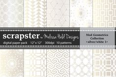 Check out Mod Geometrics: Silver/White by scrapster on Creative Market