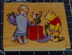 All Night Media winnie the pooh gift wrapping party holliday wooden rubber stamp