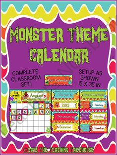 Your students will love calendar time with this adorable monster theme calendar! The calendar set up as shown measures 15 x 35 inches, and will go great with any monster theme classroom décor. Includes a monthly calendar, year, seasons, and days of the week charts. $