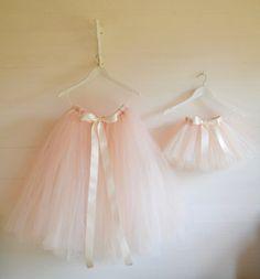 Girls tutu Long/Calf length Ivory pink by FlowersAndConfetti