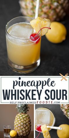 Pineapple Cocktail, Pineapple Drinks, Sour Cocktail, Cocktail Drinks, Sour Drink, Lemon Drink, Whiskey Sour, Bourbon Drinks, Drinks With Fireball Whiskey