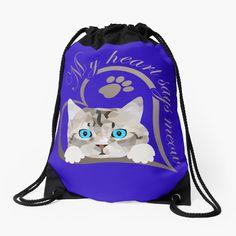 Süßes Baby Kätzchen, Katze. Schönes Design für Katzenbesitzer, Katzen Freunde und Katzen Liebhaber. Tolles Geschenk für Katzenbesitzer. Mein Herz sagt miau.#katze #Kätzchen #katzenliebhaber #cat #cute Drawstring Backpack, Backpacks, Bags, Gifts For Cats, Great Gifts, Baby Kitty, Nice Designs, Cinch Bag, Gymnastics