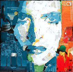 Recycled Magazine Collage Art Portrait by Derek Gores