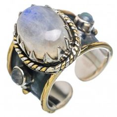 925 SOLID STERLING FILE SILVER Rainbow Moonstone Rings