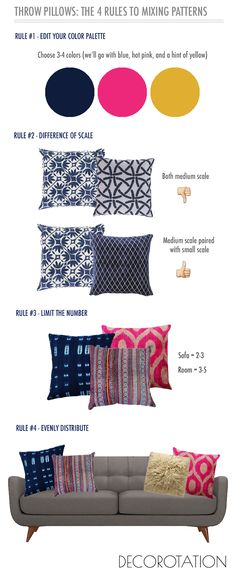 Throw Pillows: The 4 Rules to Mixing Patterns