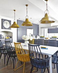 Modern Kitchen with Yellow and Grey Accessories