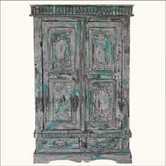 Distressed Reclaimed Wood Hand Painted Wardrobe Armoire Closet Rustic Furniture