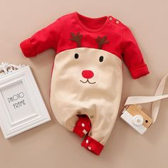 Christmas Style Reindeer Print Long-sleeve Jumpsuit for Baby Boy / Girl . Cute Little Baby, Little Babies, Baby Love, Baby Kids, Baby Baby, Baby Koala, Baby Outfits Newborn, Baby Boy Outfits, Kids Outfits