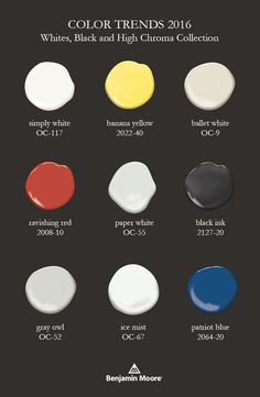 Here is a sample of white, black and high chroma paint colors from the Color Trends 2016 collection. See all 23 colors by following the pin. Benjamin Moore Paint, Benjamin Moore Colors, Color Trends, Color Combos, Color Schemes, Room Colors, Paint Colours, Favorite Paint Colors, 2016 Trends