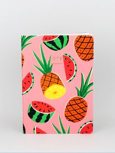 'Pineapple and Watermelons' notebook featuring artwork by Ruby Taylor for Wrap
