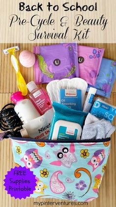 Back to School Pre-cycle & Beauty Survival Kit with printable