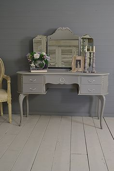 #letstrove This French Louis Dressing Table has been painted in Little Green Lead, with French Grey detailing. We've lightly distressed and aged with dark wax for a chic rustic look. https://www.thetreasuretrove.co.uk/bedroom-storage/shabby-chic-french-louis-dressing-table #shabbychicliving #littlegreene #frenchfurniture