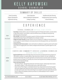 Graphic Resume Sample For School Counselor