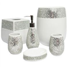 silver sparkle bathroom accessories. Silver Cracked Glass And Ivory Hand Crafted Bath Accessory Collection  17856322 Overstock The Best Prices On Bathroom Collections Mobile George Home Glitter Accessories Bathrooms